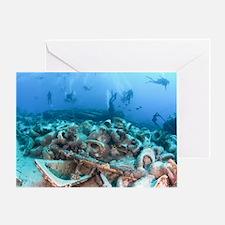 Divers at a shipwrec Greeting Card