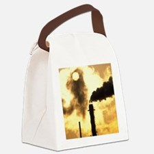 Chimney smoke from a chemical pla Canvas Lunch Bag