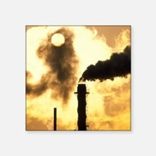"Chimney smoke from a chemic Square Sticker 3"" x 3"""