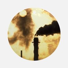 Chimney smoke from a chemical plant Round Ornament