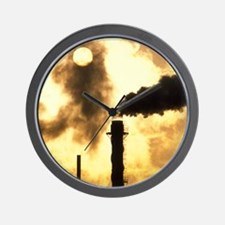 Chimney smoke from a chemical plant obs Wall Clock
