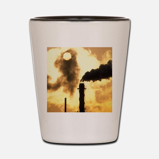 Chimney smoke from a chemical plant obs Shot Glass
