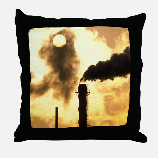 Chimney smoke from a chemical plant o Throw Pillow