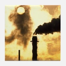 Chimney smoke from a chemical plant o Tile Coaster