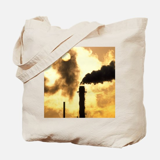 Chimney smoke from a chemical plant obscu Tote Bag