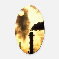 Chimney smoke from a chemical plan Oval Car Magnet