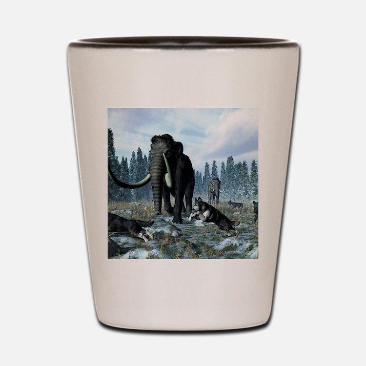 Dire wolves and mammoths, artwork Shot Glass