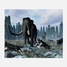 Dire wolves and mammoths, artwork Throw Blanket