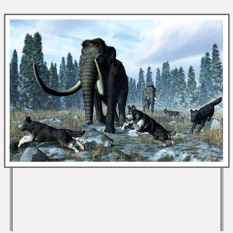 Dire wolves and mammoths, artwork Yard Sign