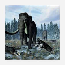 Dire wolves and mammoths, artwork Tile Coaster
