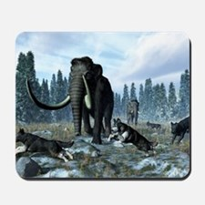 Dire wolves and mammoths, artwork Mousepad