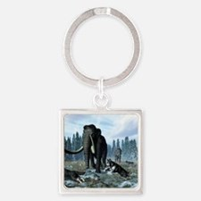 Dire wolves and mammoths, artwork Square Keychain