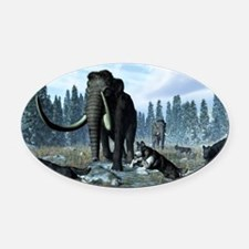 Dire wolves and mammoths, artwork Oval Car Magnet