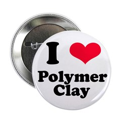 I Love Polymer Clay Button