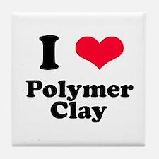 I Love Polymer Clay Tile Coaster