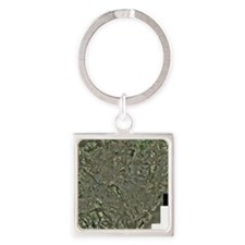 Cardiff, aerial photograph Square Keychain