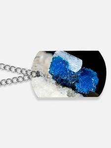Cavansite and stilbite crystals Dog Tags