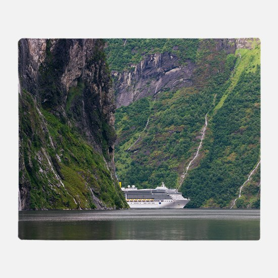Cruise ship in a fjord, Norway Throw Blanket