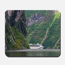 Cruise ship in a fjord, Norway Mousepad