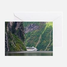 Cruise ship in a fjord, Norway Greeting Card
