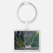 Cruise ship in a fjord, Norway Landscape Keychain