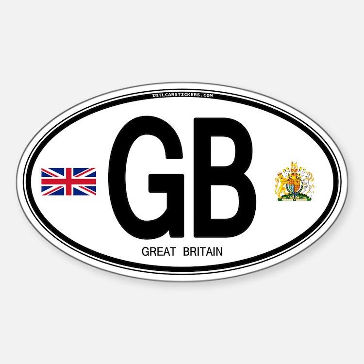 Great Britian (GB) Euro Oval Sticker (Oval)