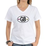 Great Britian (GB) Euro Oval Women's V-Neck T-Shir