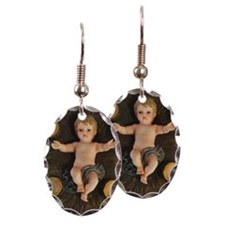 Elevated view of baby Jesus Earring Oval Charm