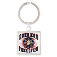 American Firefighter Lightning Square Keychain