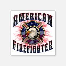 "American Firefighter Lightn Square Sticker 3"" x 3"""