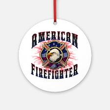 American Firefighter Lightning Round Ornament