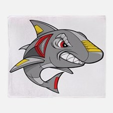 Robot Shark Throw Blanket