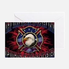 American Firefighter Lightning Mouse Greeting Card