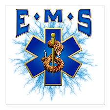 "EMS Lightning Square Car Magnet 3"" x 3"""