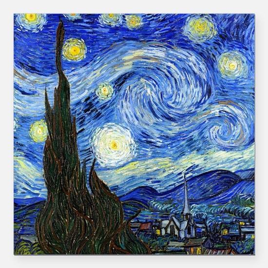 "Van Gogh Square Car Magnet 3"" x 3"""