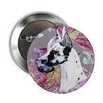 Feminine Harlequin Great Dane Button