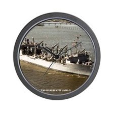 uss kansas city framed panel print Wall Clock