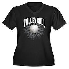 Volleyball Women's Plus Size Dark V-Neck T-Shirt