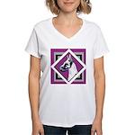 Harlequin Great Dane design Women's V-Neck T-Shirt