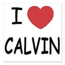"I heart CALVIN Square Car Magnet 3"" x 3"""