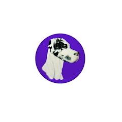 Down Ear Harlequin Great Dane Mini Button (100 pac