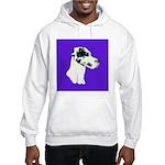 Down Ear Harlequin Great Dane Hooded Sweatshirt
