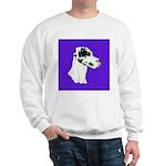 Down Ear Harlequin Great Dane Sweatshirt