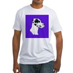 Down Ear Harlequin Great Dane Fitted T-Shirt