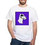 Down Ear Harlequin Great Dane White T-Shirt