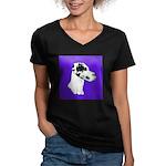 Down Ear Harlequin Great Dane Women's V-Neck Dark