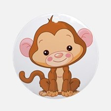 Cute Baby Monkey Round Ornament