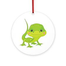 Cute Baby Lizard Round Ornament
