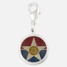 VintageDallasFlag Silver Round Charm