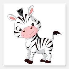 """Cute Baby Zebra Square Car Magnet 3"""" x 3"""""""